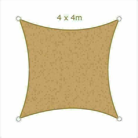 4x4m Sun Sail Shade Square Awning Canopy Garden Sun Cover Patio Sunscreen - Sand