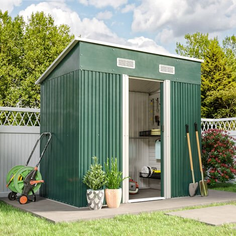 4x6ft Metal Garden Shed Outdoor Tool shed - Green