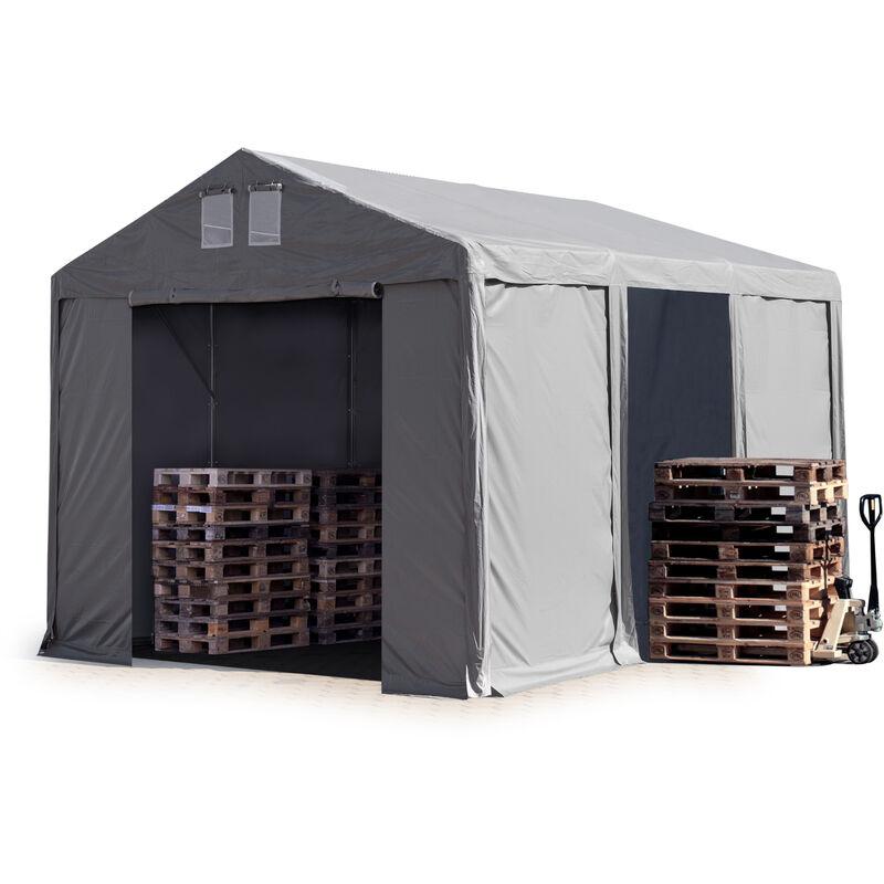 4x6m Tente de stockage INTENT24, PVC env. 550 g/m², H. 3m avec portes à fermeture Eclair