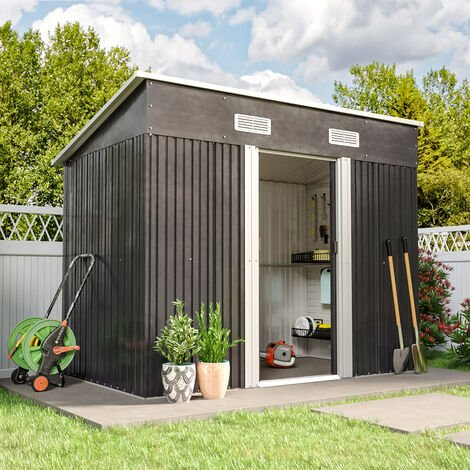 4x8ft Metal Garden Shed Outdoor Tool shed - Dark Grey