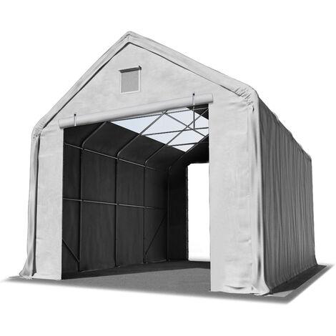 4x8m hangar INTENT24 avec fenêtres dans le toit, porte 3x3m, toile PVC d'env. 720 g/m², anti-feu