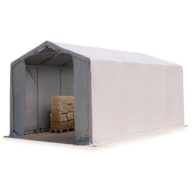 4x8m hangar INTENT24, PVC d'env. 550 g/m², H. 3m avec portes à fermeture Eclair