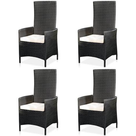 4XGarten high-back armchair + cushion chair balcony seating furniture rattan armchair black