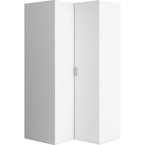 4YOU - Armoire d'angle style scandinave - 206x105x103.5 cm - Barre de penderie + 7 étagères - Dressing chambre entrée - Blanc
