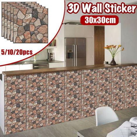5/10 pièces 3D autocollant mural tuile brique auto-adhésif étanche papier peint bricolage décor à la maison 5 pièces ré