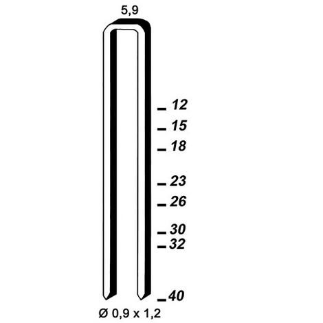 5 200 agrafes INOX ES-26 - 5,9 x 26 x D. 0,9 x 1,2 mm - 6ES269 - Alsafix