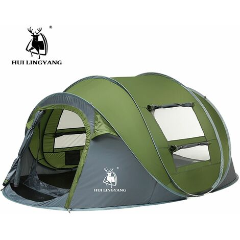 5-8 Person Automatic Pop Up Tent Waterproof Outdoor Camping Hiking Portable Green - Vert