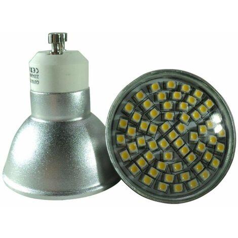 5 Ampoules GU10 à 60 LEDs SMD Blanc Chaud, Diffusion 120°, 220-240V