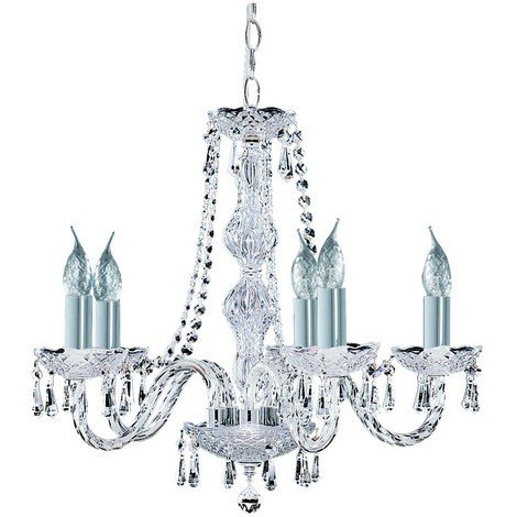 competitive price c9b1d be9a8 5 Arm Chrome Georgian Crystal Chandelier by Washington Lighting