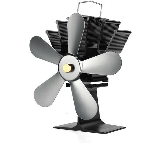 "main image of ""5 Blade Heat Self-Powered Wood Stove Fan Top Log Burner Fireplace Silent Fans Winter Warm silver"""