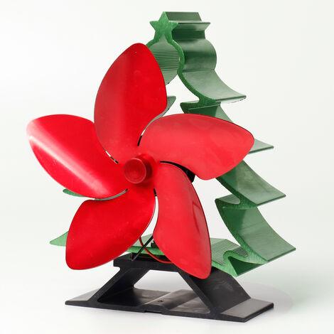 5 Blade Wood Stove Fireplace Fan Heater Efficient Heat - Mohoo Christmas Tree