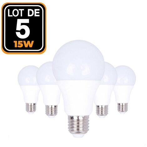 5 bombillas led E27 A60 15 W 220 V 6000 K blanco frío Alta luminosidad