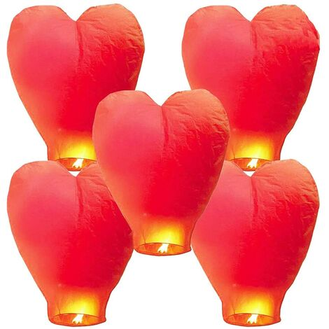 """main image of """"5 Chinese sky lanterns Lanterns in biodegradable ecological fireproof paper for the liberation of the sky (5 sets, red))"""""""