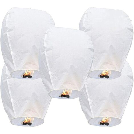 """main image of """"5 Chinese sky lanterns Lanterns in biodegradable ecological fireproof paper for the liberation of the sky (5 sets, white))"""""""
