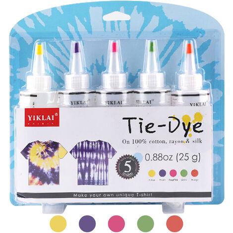 5 Couleurs Bricolage Tie Dye Kits Tissu Dye Set Tissu Peinture 120Ml / Bouteille Avec Elastiques Gants Tablier Sac Auto-Obturant Pour Adultes Enfants, Jaune + Violet + Rose Rouge + Vert + Orange