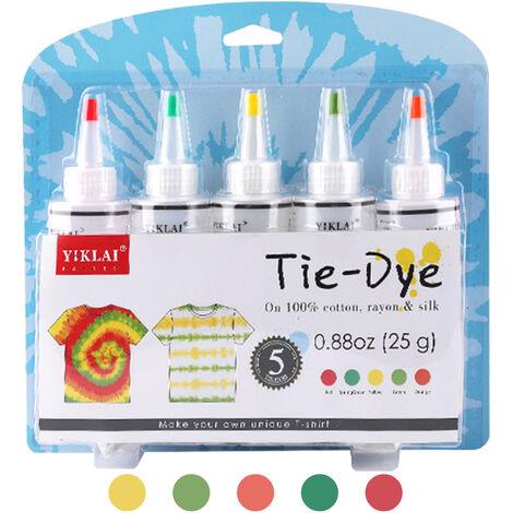 5 Couleurs Bricolage Tie Dye Kits Tissu Dye Set Tissu Peinture 120Ml / Bouteille Avec Elastiques Gants Tablier Sac Auto-Obturant Pour Adultes Enfants, Rouge + Jaune + Orange + Vert + Vert Fonce