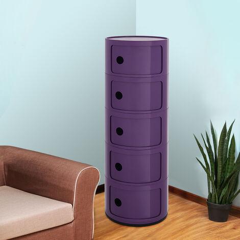 5 Drawer Round Storage Unit Plastic Cabinet for Home Hallway Bathroom Bedroom