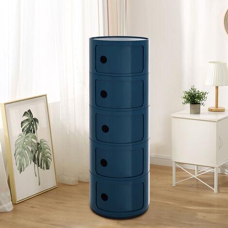 "main image of ""5 Drawer Round Storage Unit Plastic Cabinet for Home Hallway Bathroom Bedroom"""
