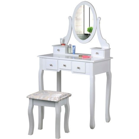 5 Drawers Adjustable Vanity Table Set Makeup Dresser White Dressing Table with Mirror and Stool