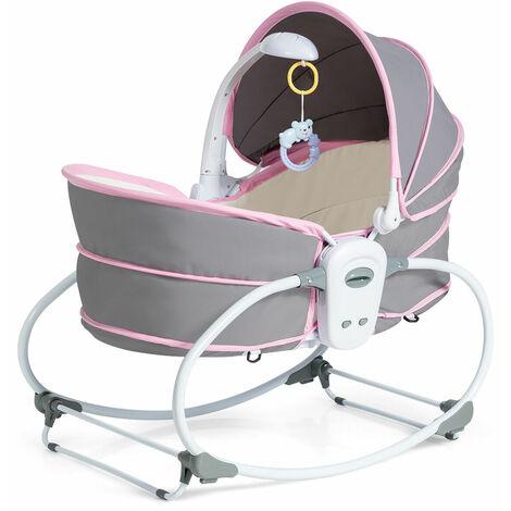 5 en 1 Cuna para Bebés Cuna Multifuncional con Toldo ,Música y Barra para Juguetes Bebé Cama Portátil para Recién Nacidos 0-36 Meses Rosa