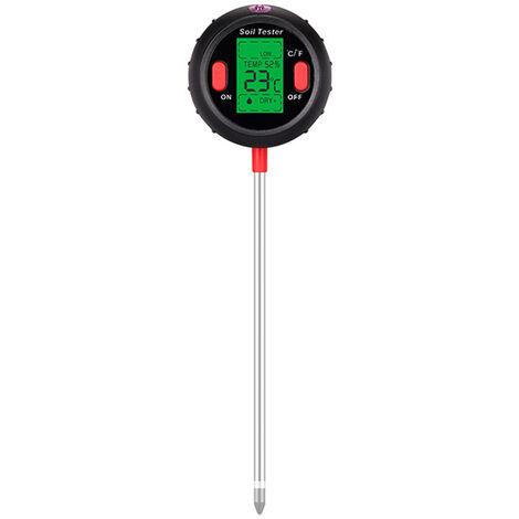 5-en-1 Digital de Suelos del medidor de pH Medidor de humedad de los niveles de pH Temperatura La luz del sol Intensidad probador de la humedad Gran pantalla LCD retroiluminada para la cubierta del jardin al aire libre Granja Planta Siembra, Negro, 5 en 1