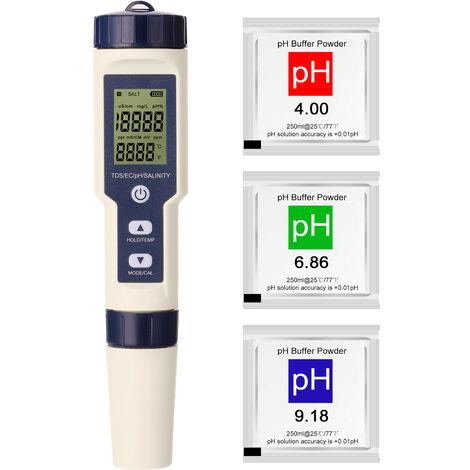 5 En 1 Multi-Parametres Combo Test De Compteur Ph / Ec / Tds / Salinite / Thermometre Numerique Multi-Fonction Testeur Eau Testeur Qualite