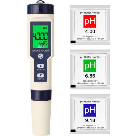 5 En 1 Multi-Parametres Professional Combo Test De Compteur Ph / Ec / Tds / Salinite / Thermometre Numerique Multi-Fonction Testeur Eau Testeur Qualite