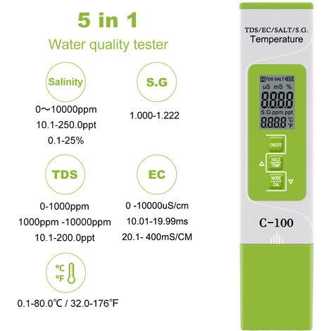 5 En 1 Tds / Ce / Sel / S.G. / Temperature Testeur Moniteur Qualite Numerique Eau Pour Piscines Eau Potable Aquariums