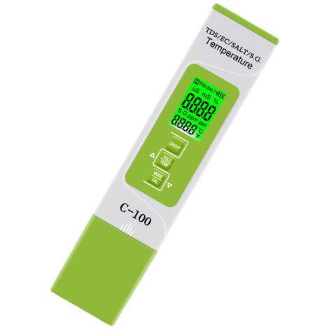 5 En 1 Tds / Ce / Sel / S.G. / Temperature Testeur Moniteur Qualite Numerique Eau Pour Piscines Eau Potable Aquariums Avec Retro-Eclairage