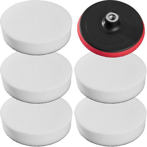 5 esponjas para pulir 180mm + plato - esponjas suaves para pulidora, set de accesorios para pulir con velcro, disco atornillable de rotación para pulido - blanco