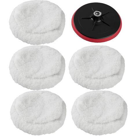 5 esponjas super suaves 220mm + plato rotativo - esponjas suaves para pulidora, set de accesorios para pulir para máquina pulidora, disco atornillable de rotación para pulido - blanco
