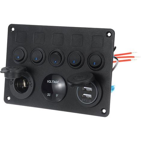 5 Gang Voiture Marine Bateau Waterproof Circuit Bleu LED Rocker Disjoncteur Panneau Commutation à Bascule