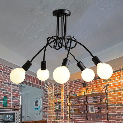 5 Head Vintage Ceiling Light Industrial Chandelier Lamp Retro Pendant Light with E27 Lamp Socket for Living Room Dining Room Bar Hotel Restaurant,black