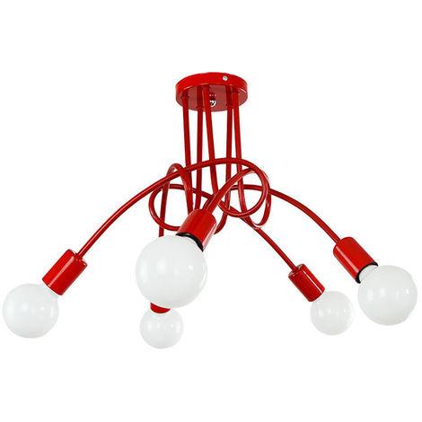 5 Head Vintage Ceiling Light Industrial Chandelier Lamp Retro Pendant Light with E27 Lamp Socket for Living Room Dining Room Bar Hotel Restaurant,red