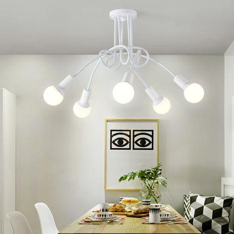 5 Head Vintage Ceiling Light Industrial Chandelier Lamp Retro Pendant Light with E27 Lamp Socket for Living Room Dining Room Bar Hotel Restaurant,white