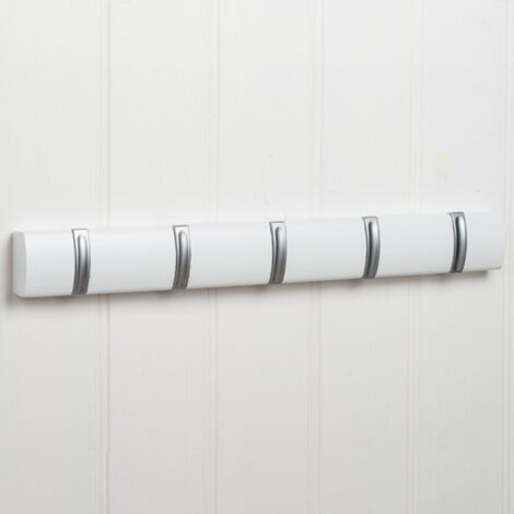 5 Hook Modern Flip Down Coat Rail - White