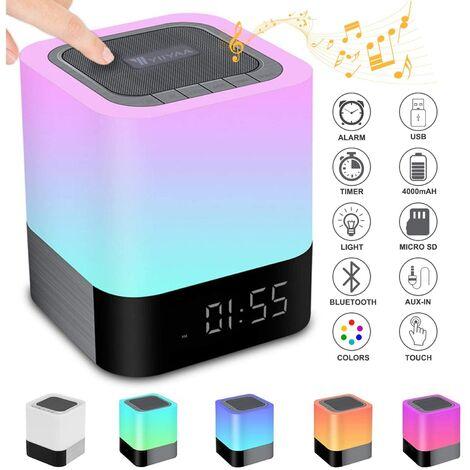 5 in 1 tragbarer Bluetooth-Lautsprecher, kabellose Nachttischlampe, Touch-Dimmer, digitaler Wecker, Freisprechen, MP3-Player, Freisprecheinrichtung, mit SD-Karte, USB und Bluetooth