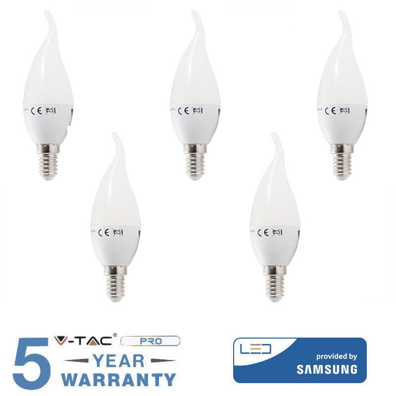 5 LAMPADINE LAMPADINA LED E14 FIAMMA 5,5W 40 W V-TAC SAMSUNG -Fredda