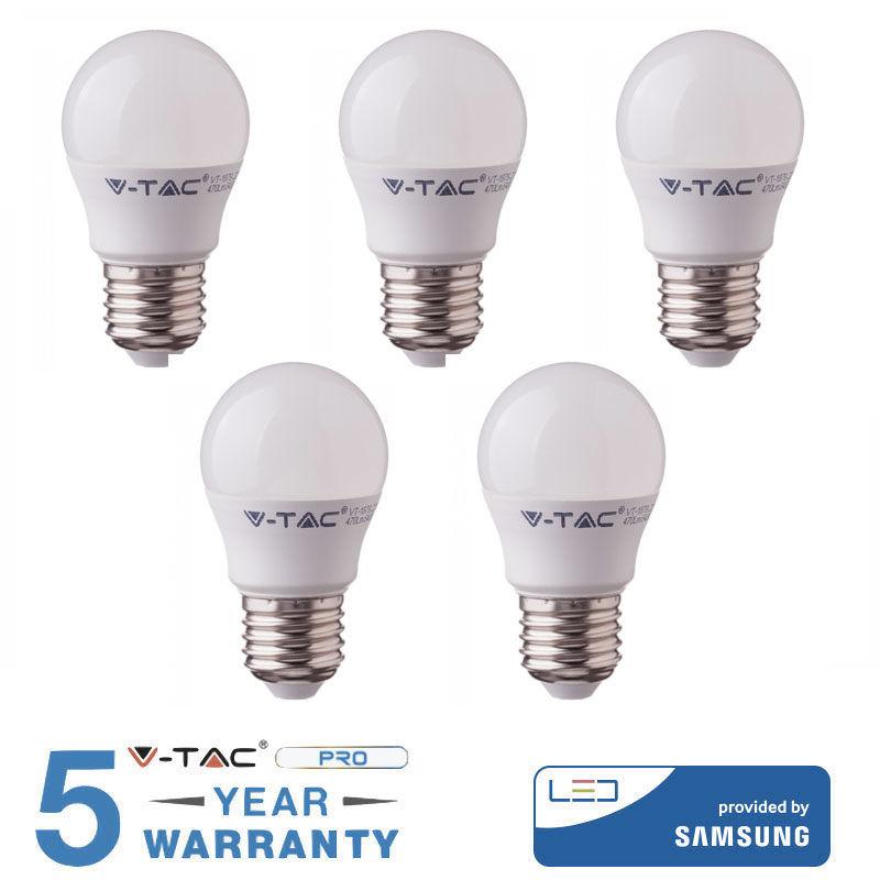 5 LAMPADINE LED V-TAC BULBO E27 5.5 W LAMPADINE LUCE CALDA FREDDA NATURALE-Calda