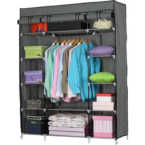 5-Layer 12-Compartment Non-woven Fabric Wardrobe Portable Closet(133x46x170cm)-different color