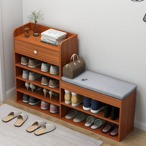 5 Layers Wooden Shoe Cabinet 100x24x86cm Ancient Sandalwood Organizer Rack With Drawers