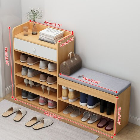 5 Layers Wooden Shoe Cabinet 100x24x86cm Maple Color Organizer Rack With Drawers