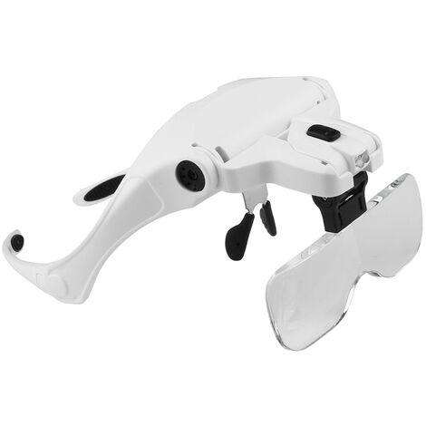 5 lentes 1.0X-3.5X Soporte ajustable Diadema Gafas Lupa Lupa, con 2 luces LED Gafas Herramienta de aumento