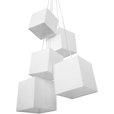 5 Light Cluster Pendant Lamp White MESTA