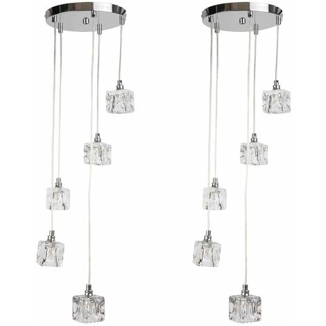 5 Light ice Cube Glass Ceiling Drop Light Fitting Ice Cube Cluster Pendant