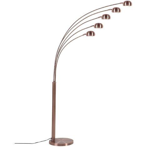 5 Light Metal Floor Lamp Copper FLINDERS