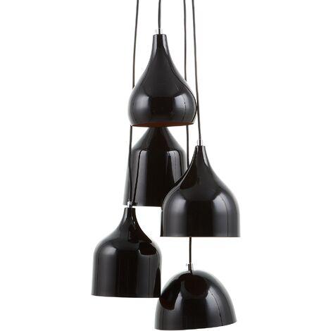5 Light Metal Pendant Lamp Black SAVIO