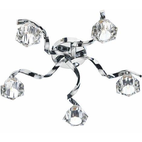 5-Light Polished Chrome Ancona Crystal Ceiling Light