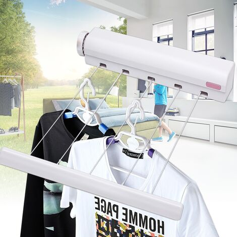 5 Line 3.75M 12Ft Retractable Clothes Dryer Dryer Hanger Washing Line Wall Laundry Room Hasaki
