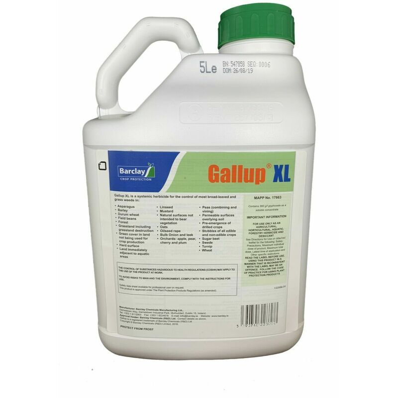 Image of 5 Litre XL Professional Industrial Strength Glyphosate 360g/L Weed Killer - Gallup